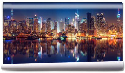 Fototapeta - Panoramic view on Manhattan at night, New York, USA