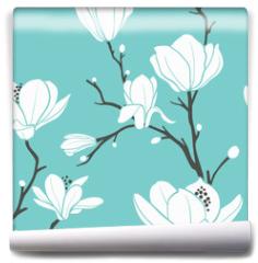 Fototapeta - blue magnolia pattern
