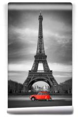 Fototapeta - Tour Eiffel et voiture rouge- Paris