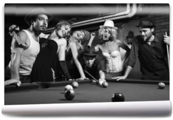 Fototapeta - retro group trying to distract man as he takes pool shot.
