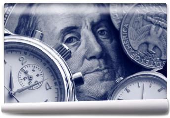 Fototapeta - watch and portrait of Benjamin Franklin on hundred Dollar bill