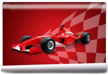 Fototapeta - red formula one car and racing flag