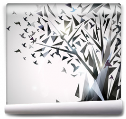 Fototapeta - Abstract Tree with origami birds.