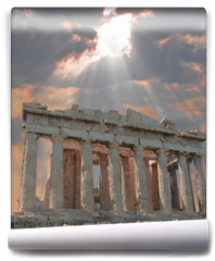 Fototapeta - sunburst over the acropolis temple