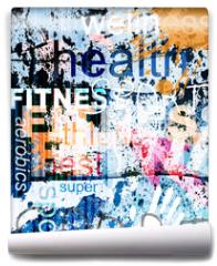 Fototapeta - FITNESS. Word Grunge collage on background.