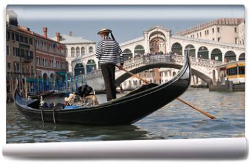 Fototapeta - Gondolier, Rialto Bridge, Grand Canal, Venice, Italy