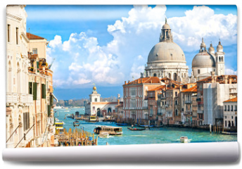 Fototapeta - Venice, view of grand canal and basilica of santa maria della sa