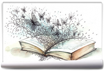 Fototapeta - book with butterflies (Cbm painting)
