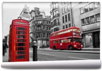 Fototapeta - Cabine téléphonique et bus rouges à Londres (UK)