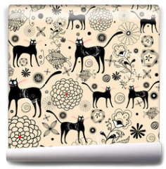 Fototapeta - Flower texture with cats