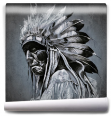 Fototapeta - Tattoo art, portrait of american indian head over dark backgroun