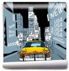 Fototapeta - Time Square New York City Taxi