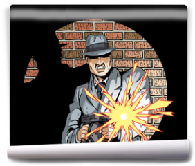 Fototapeta - Comic book drawing of a gangster with a tommygun