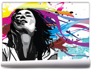 Fototapeta - Girl with colour splash background vector