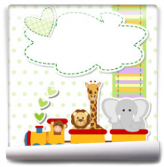 Fototapeta - baby shower - train - trenino con animali