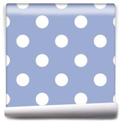 Fototapeta - Retro seamless vector pattern with polka dots, blue background