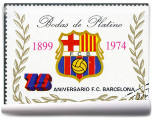 Fototapeta - EQUATORIAL GUINEA - 1974: shows label of Barcelona Soccer Team