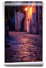 Fototapeta - Old paved street at night -Pula ,Croatia