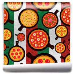 Fototapeta - Italian pizza flavors pattern