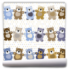 Fototapeta - vector seamless pattern of a toy teddy bear