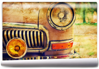 Fototapeta - Close-up photo of retro car headlights
