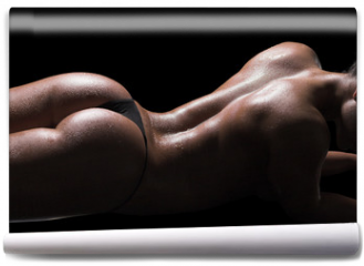 Fototapeta - Sexy woman body, wet skin, black background