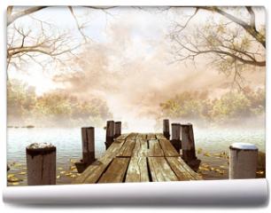 Fototapeta - Jesienna sceneria z drewnianym molo na jeziorze