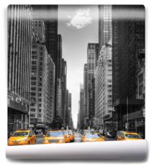 Fototapeta - Avenue avec des taxis à New York.