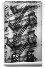 Fototapeta - Façade avec escalier de secours noir et blanc - New-York