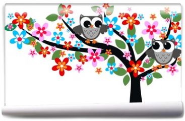 Fototapeta - two owls sitting in a tree