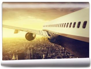 Fototapeta - Airplane over a big City