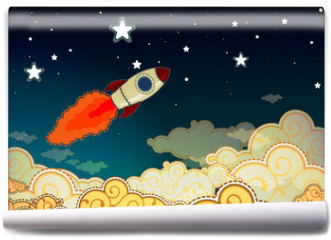 Fototapeta - Cartoon rocket flying to the stars