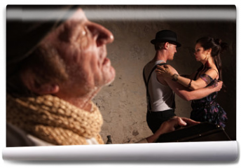 Fototapeta - Bandoneon Player with Tango Dancers