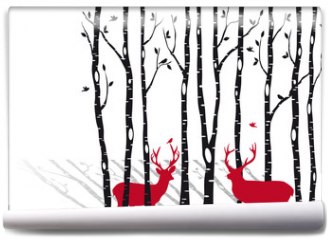 Fototapeta - birch trees with christmas deers, vector