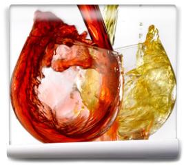 Fototapeta - calici di vino bianco e rosso