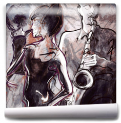 Fototapeta - Jazz band with dancers