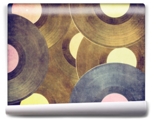 Fototapeta - Vintage musical background, vinyl records