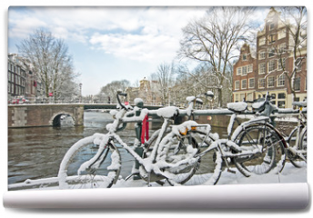 Fototapeta - Snowy Amsterdam in the Netherlands