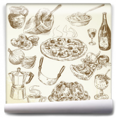 Fototapeta - hand drawn pizza set
