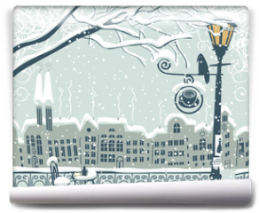 Fototapeta - Winter cityscape with a lantern and a bird
