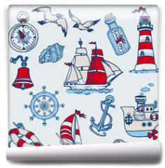 Fototapeta - Nautical Sea Design Elements -for scrapbook and design in vector