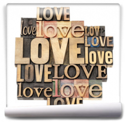 Fototapeta - love word in wood type