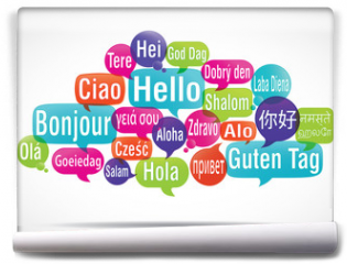 Fototapeta - nuage de mots bulles : bonjour traduction