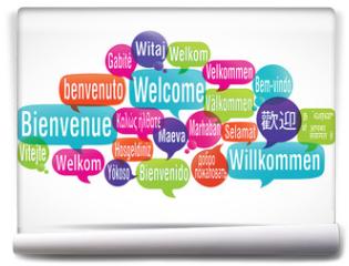 Fototapeta - nuage de mots bulles : bienvenue traduction