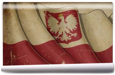 Fototapeta - Polish State Flag (with eagle insignia) Old Paper