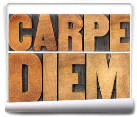 Fototapeta - Carpe Diem in wood type