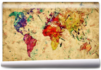 Fototapeta - Vintage world map. Colorful paint, watercolor on grunge paper