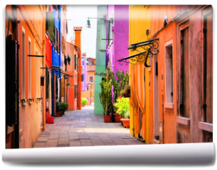 Fototapeta - Colorful street in Burano, near Venice, Italy