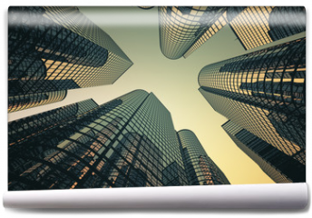 Fototapeta - Reflective skyscrapers, business office buildings.