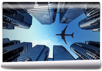 Fototapeta - Business towers with a airplane silhouette